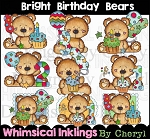 Bright Birthday Bears Clipart Collection