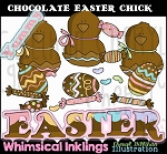 Chocolate Easter Chick Clipart Collection