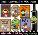Creepy Halloween Two Wine Labels