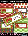 Geranium Love Candy Bar Wrappers