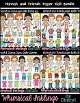 Hannah and Friends Paper Dolls Clipart Bundle