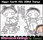 Happy Fourth Kids Digital Stamps