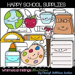 Happy School Supplies Clipart Collection