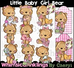 Little Baby Girl Bear Clipart Collection