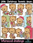 Little Christmas Sweets Bear Clipart Collection
