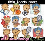 Little Sports Bears Clipart Collection