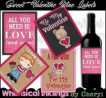 Sweet Valentine Wine Labels
