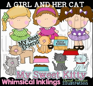A Girl and Her Cat Clipart Collection