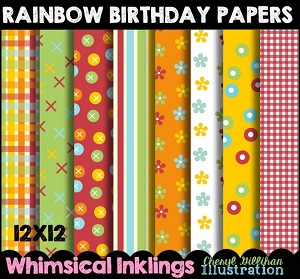 Rainbow Birthday Papers