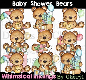 Baby Shower Bears Clipart Collection