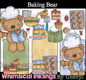 Baking Bear Clipart Collection