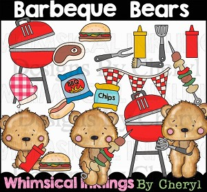 Barbeque Bears Clipart Collection