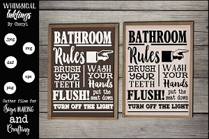 Bathroom Rules Version 3 SVG