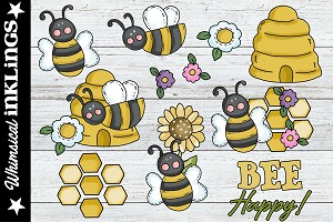 Bee Happy SVG