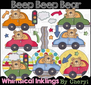Beep Beep Bear Clipart Collection