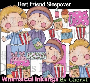 Best Friends Sleepover Clipart Collection