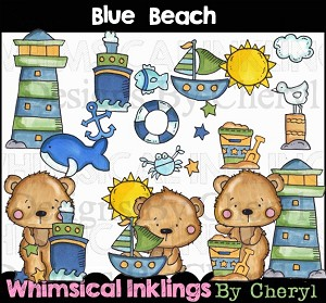 Blue Beach Clipart Collection