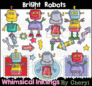 Bright Robots Clipart Collection
