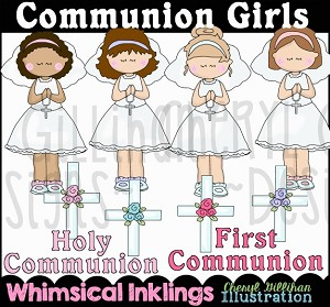 Communion Girls Clipart Collection