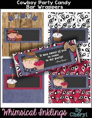 Cowboy Party Candy Bar Wrappers