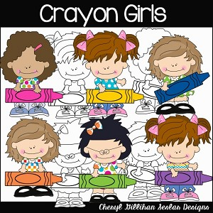 Crayon Girls Clipart Collection