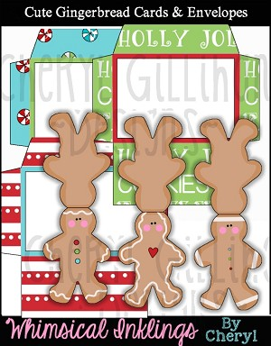 Cute Gingerbread Cards and Envelopes