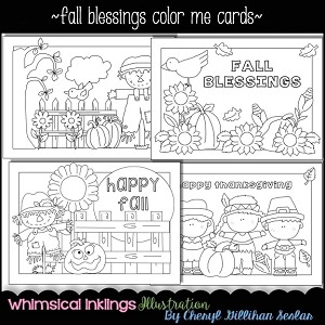 Fall Blessings Color Me Cards