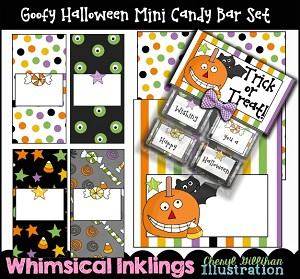 Goofy Halloween Mini Candy Bar Wrappers