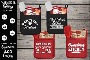 Grandmas Kitchen Pot Holder SVG Set