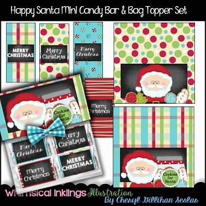 Happy Santa Mini Candy Bar Wrappers
