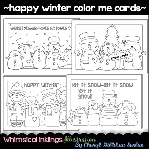 Happy Winter Color Me cards