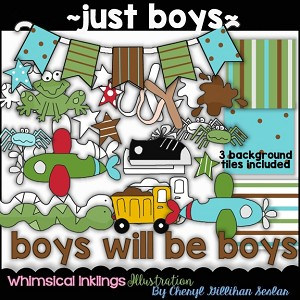 Just Boy Stuff Clipart Collection