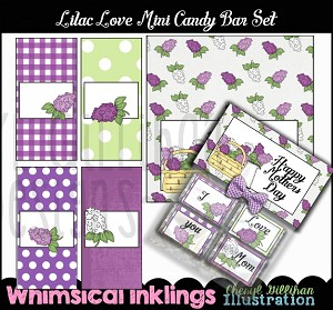Lilac Love Mini Candy Bar Wrappers