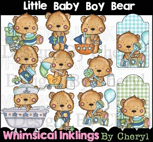 Little Baby Boy Bear Clipart Collection