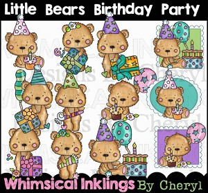 Little Bears Birthday Party Clipart Collection