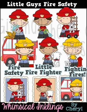 Little Guys Fire Safety Clipart Collection