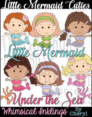 Little Mermaid Cuties Clipart Collection