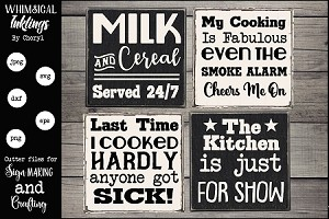 Milk and Cereal Kitchen Magnet-Sign SVG Set