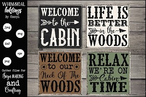 On Cabin Time SVG Magnet-Sign Set
