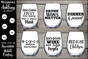 One Glass Away SVG Set