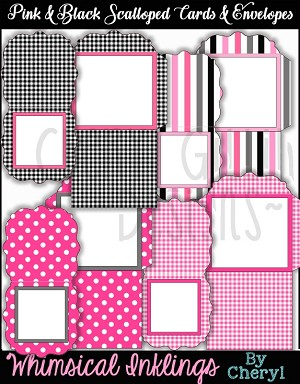 Pink and Black Scalloped Cards