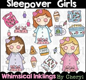 Sleepover Girls Clipart Collection
