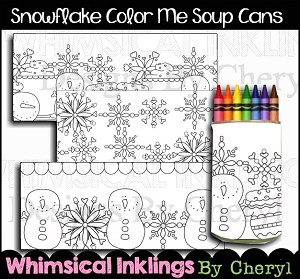 Snowflake Color Me Soup Can Wrappers