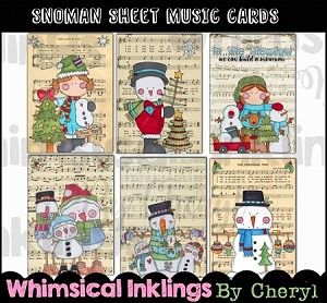 Snowman Sheet Music Cards