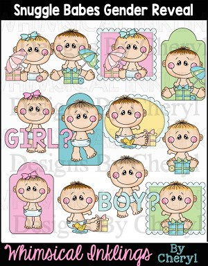 Snuggle Babies Gender Reveal Clipart Collection