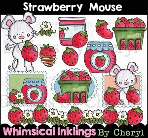 Strawberry Mouse Clipart Collection