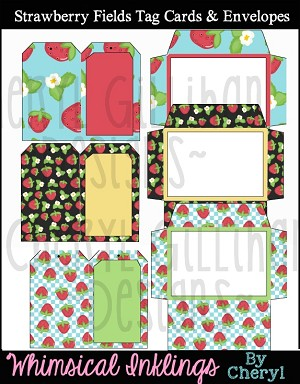 Strawberry Fields Tag Cards and Envelopes