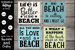 The beach Is Calling SVG Magnet and Sign Set