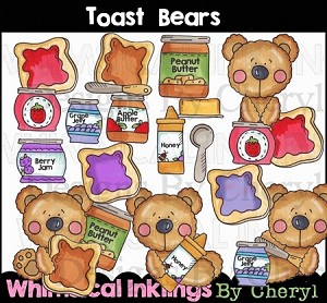 Toast Bears Clipart Collection
