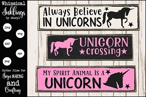 Unicorn Crossing SVG Set